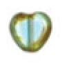 Glass Cut Bead Flat Heart10/10 Strung- Light Aqua